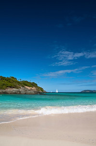 In St. Johns, the view from the beach on Trunk Bay.