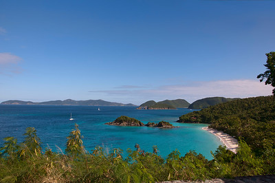 St. Johns Trunk Bay from a lookout above on the road.