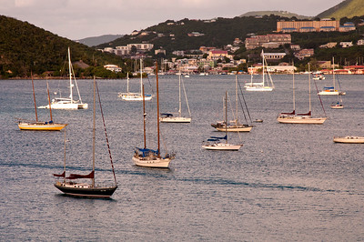As the Equinox arrives in St. Thomas, we pass the many sailboats anchored in the bay.