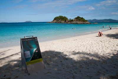 Trunk Bay and the snorkeling trail in the distance.