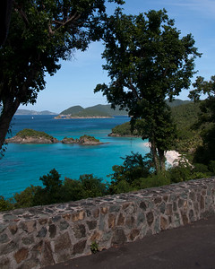 At the top of the hill, a look back at Trunk Bay.