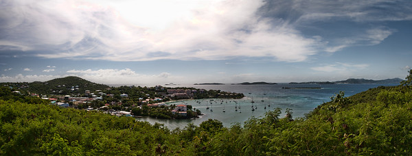 Panorama taken from St. John looking over to St. Thomas and other islands.