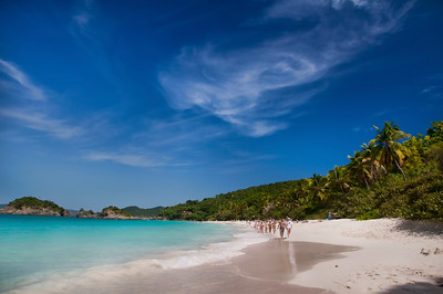 Swirling clouds above Trunk Bay.