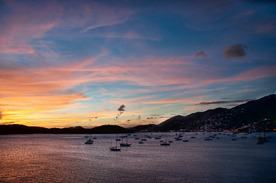 St. Thomas at sunset as the cruise ship leaves the dock.