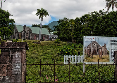 First Anglican church on St. Kitts, now a historical site.