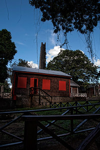 St. Kitts 18th century sugar mill. In 1625, first established to produce tobacco. Switched to sugar cane after a devastating hurricane in the mid 17th century.