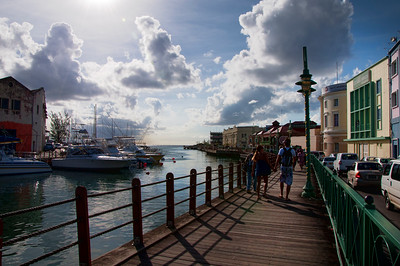 Walking to the cruise port from Bridgetown in Barbados.