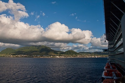 Approaching St. Kitts island in the Caribbean.