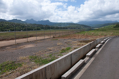 A view of the largest airport on Dominica and some of the mountains on the island.