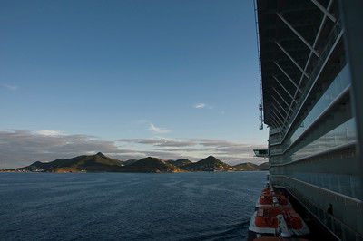 In the morning, with St. Maarten in site, we enjoy the island view.