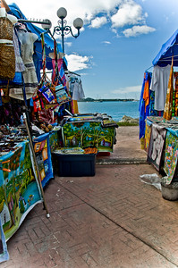 The market area with local art in Marigot, St. Maarten.