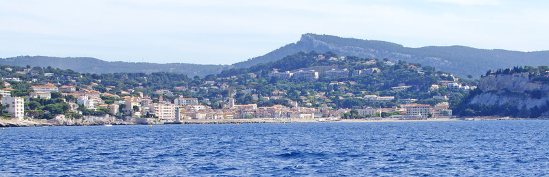 View of Cassis from out at sea.