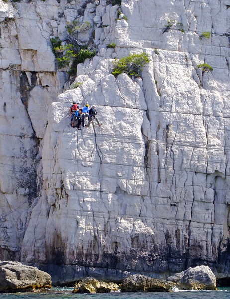 Only expert climbers attempt these cliffs above the water.