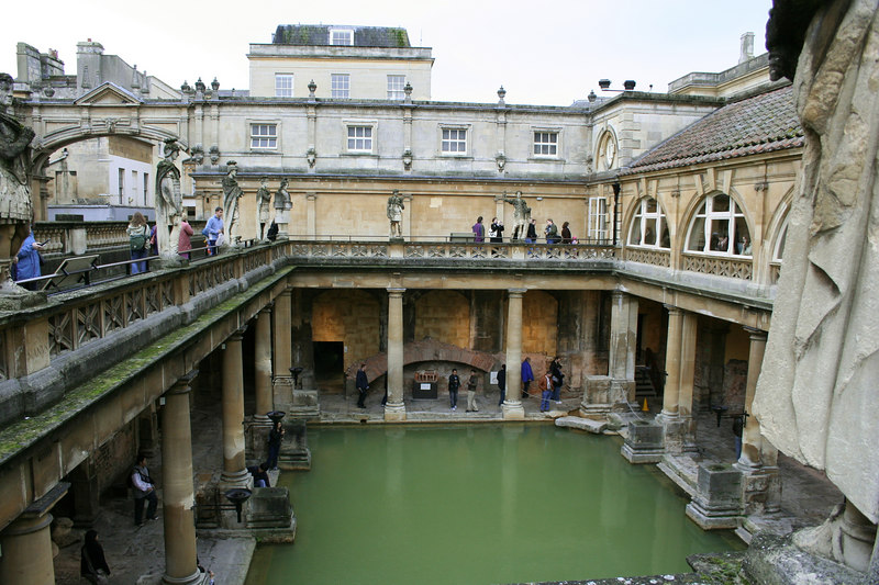 A view down into the old Roman bath