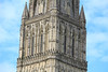 Tower of Salisbury Cathedral. It is the tallest in the U.K., and had to be reinforced with huge beams in 1668 to keep it from crashing down. They were hidden by a false ceiling within the tower.