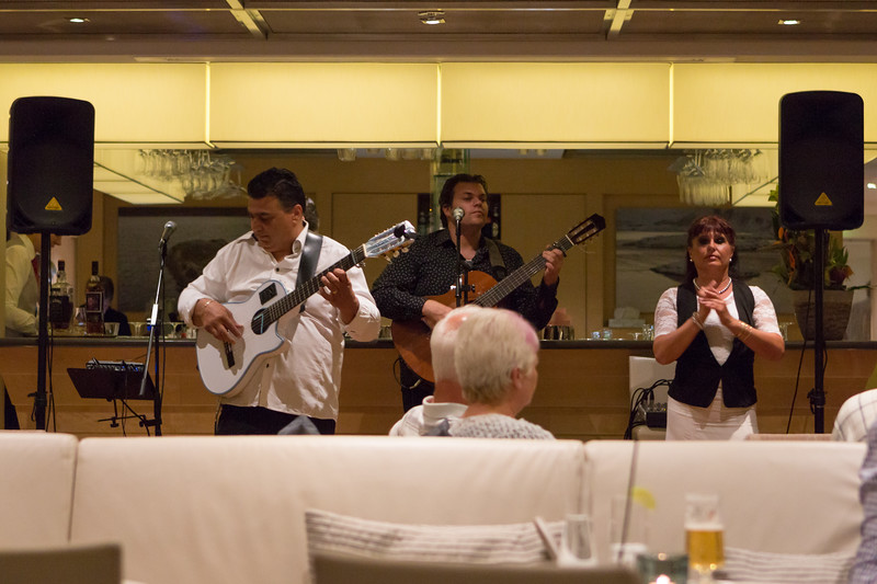"Local entertainment serenading us on the last night with ""Les Gitans"", descendants of the Gypsy Kings."