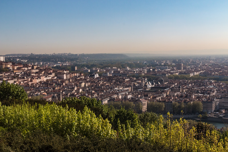 """The Basilica's location makes it visible from all over Lyon.  The view includes nearly all of the city, including the Opera (half-round roof) called the """"toaster""""."""