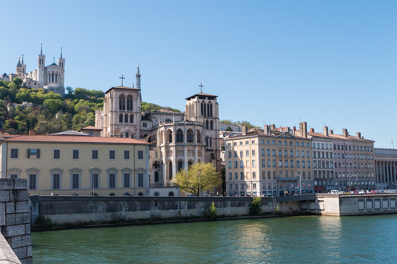 Continuing west, we cross the second river, the Saone.  From this bridge we can see the Cathedral (closer) and the Basilica (higher)
