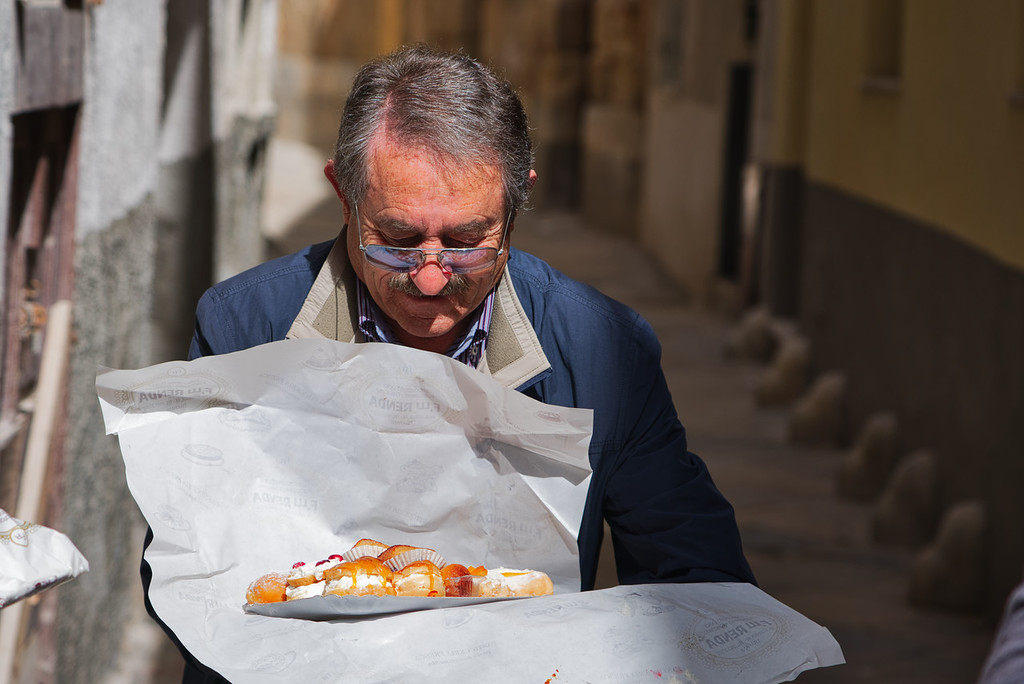 Man Showing Sunday Sweet Treats