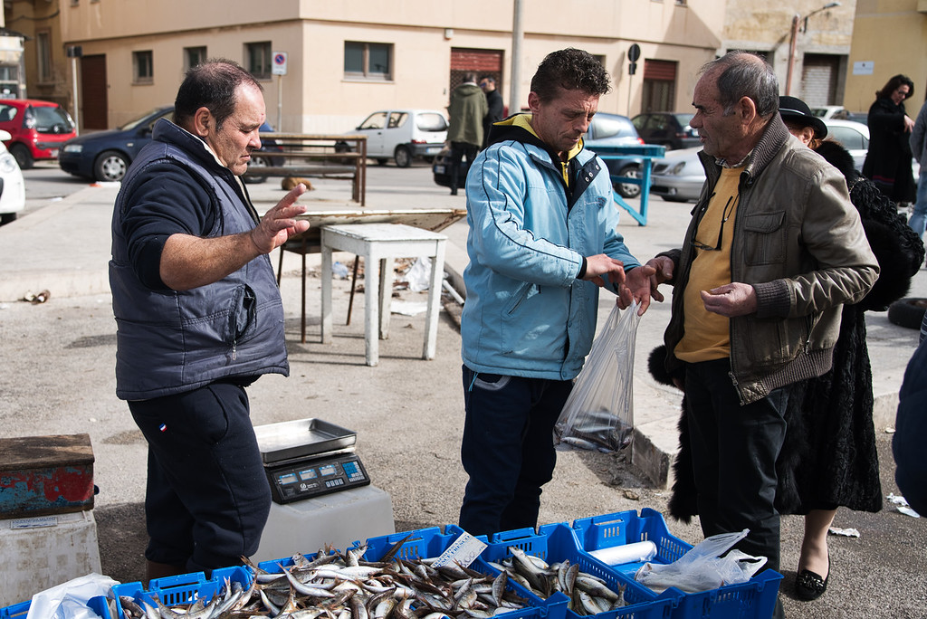 Trapani Fish Market (Look, it's three Euros per kilo of sardines and not a cent less.)