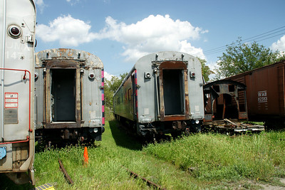 Railroad equipment at the Steam Railroad Institute in Owosso, Michigan