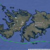Voyage track through the Falkland Islands:  New Island, Steeple Jason Island and Sea Lion Island.