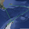 Overall voyage track of the Ortelius.