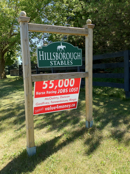 "Guelph Line - sign at Hillsborough Stables ""55,000 Horse Racing Jobs Lost - McGuinty, Duncan, Godfrey, Tannenbaum, Bingo. Contact value4money.ca"""