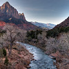 Looking south from the entrance to Zion National Park, along the Virgin River