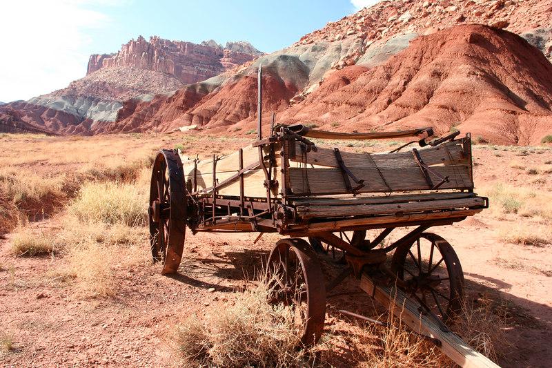 Old wagon, near Gifford House, Capitol Reef area, Torrey, Utah