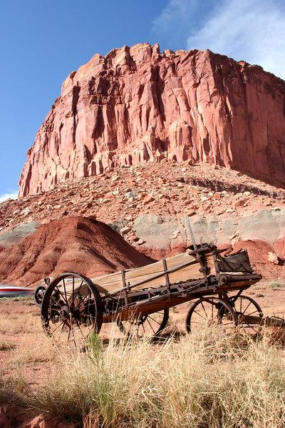 Old wagon near Gifford House, Torrey, Utah