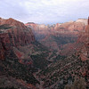 View of Lower Zion Canyon from above the Great Arch.