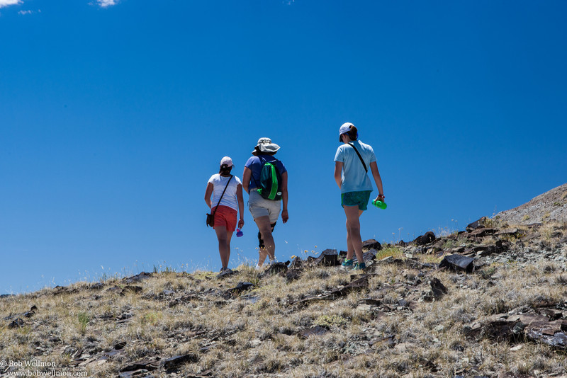 Hiking along the trials at the Cleveland-Lloyd Dinosaur Quarry, 30 miles south of Price, Utah.
