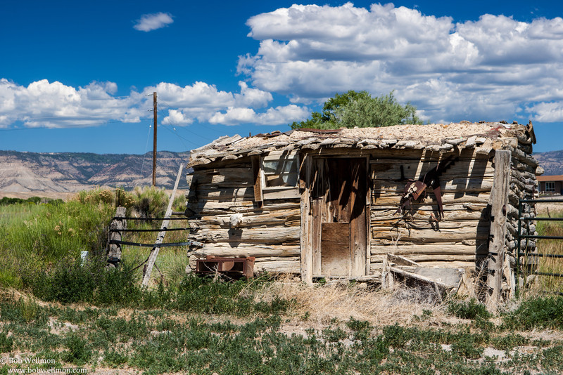 Old cabin located along the road to the Cleveland-Lloyd Dinosaur Quarry, 30 miles south of Price, Utah.