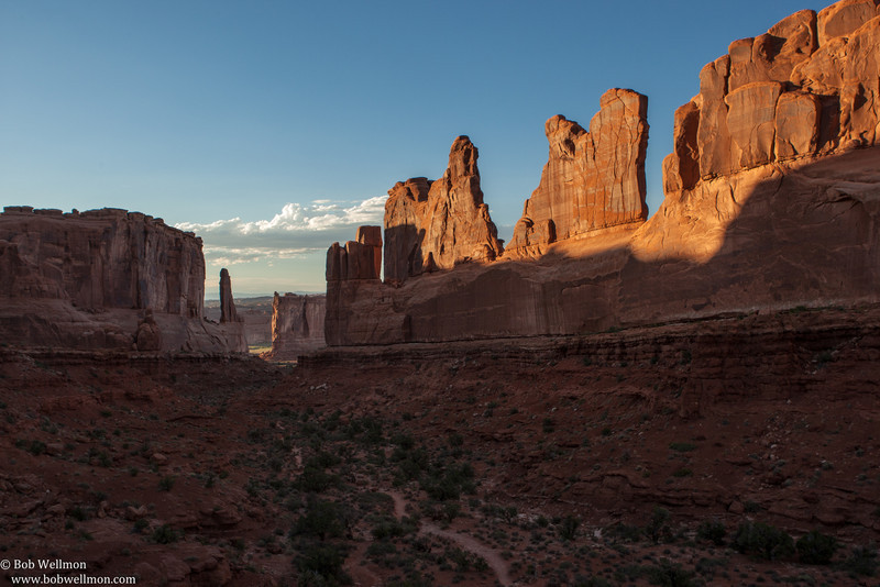 Arches National Park, near Moab, UT. - Park Avenue Trail, Courthouse Towers. 38.624431, -109.599582