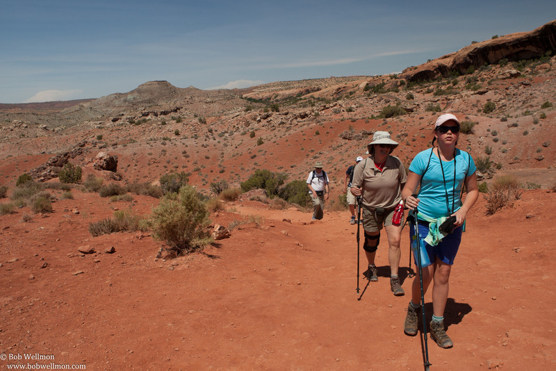 Hiking the trail leading to Delicate Arch, Arches National Park, near Moab, UT.