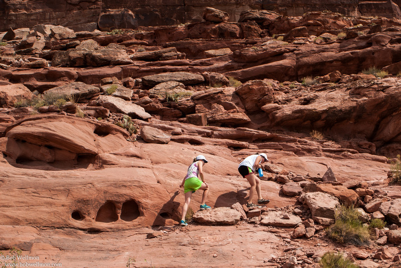 Hiking up to view the dinosaur footprints, Dinosaur Footprints View Area/Poison Spider Mesa Trailhead, Utah