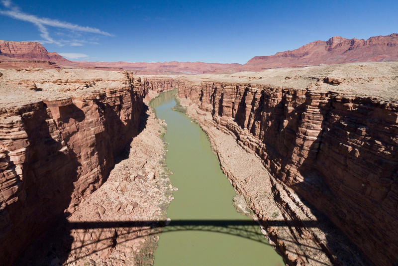 Colorado River from the Navajo Bridge. Just a few miles down river the walls rise to begin the Grand Canyon