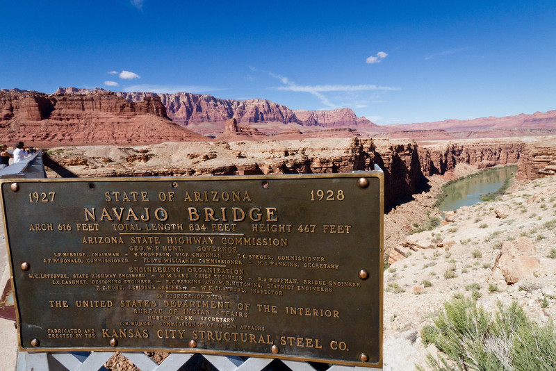 Navajo bridge over the Colorado River, 15 miles downstream from the Glen Canyon Dam (Lake Powell). This was the only bridge crossing the river for hundreds of miles.