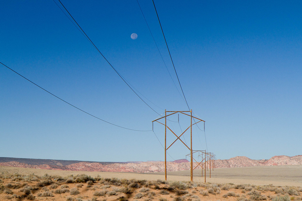 Moon over power lines at beginning of Cottonwood Creek dirt road