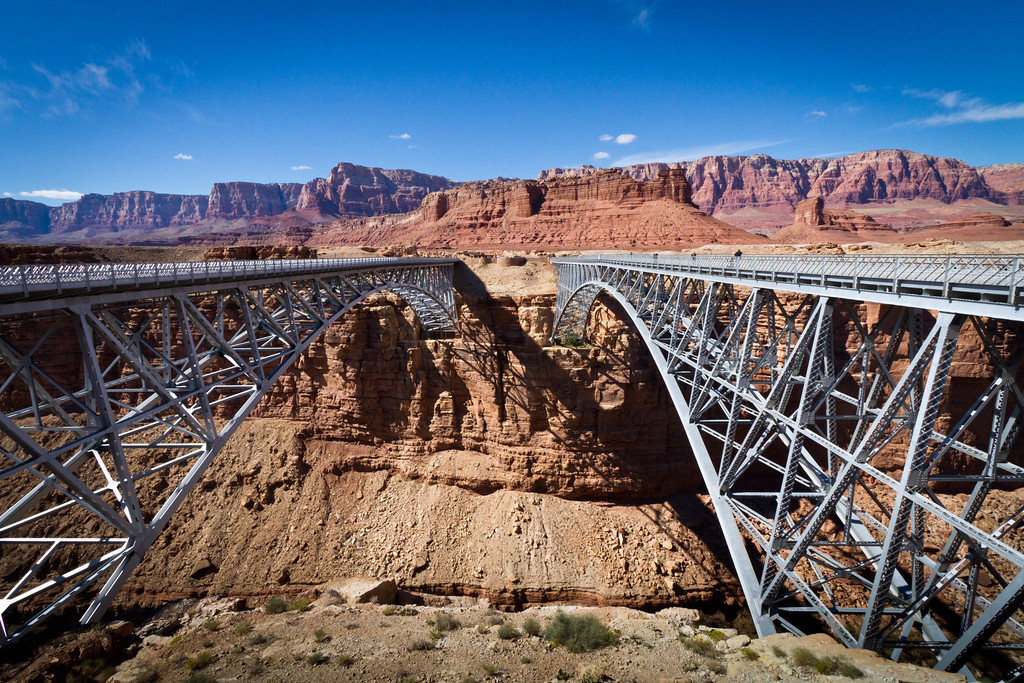 A new bridge (left) replaced the old Navajo Bridge in the last decade. The old bridge remains open for pedestrians.
