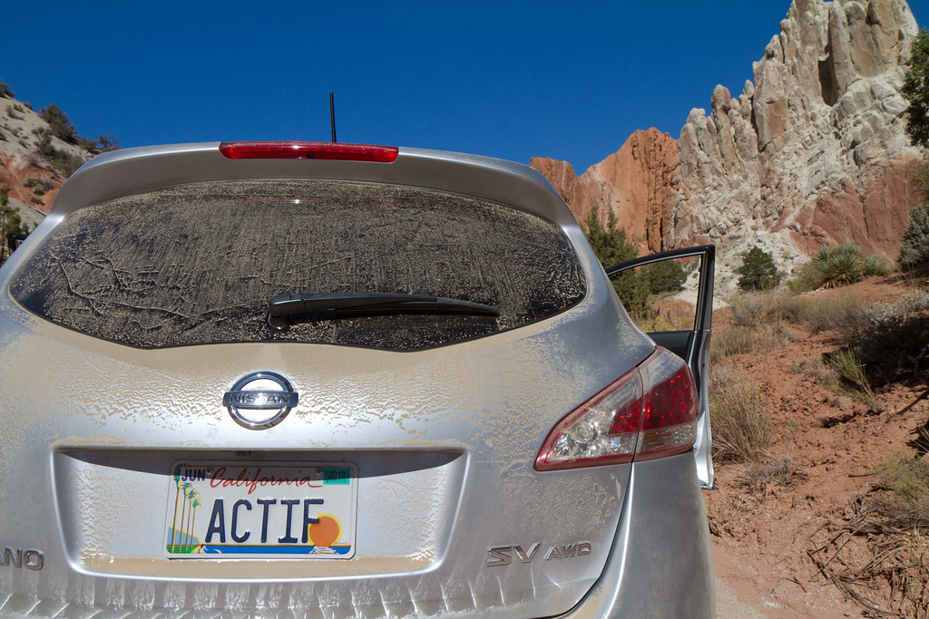 Our chariot, after a day driving the 40 mile dirt road in the Grand Staircase National Monument.