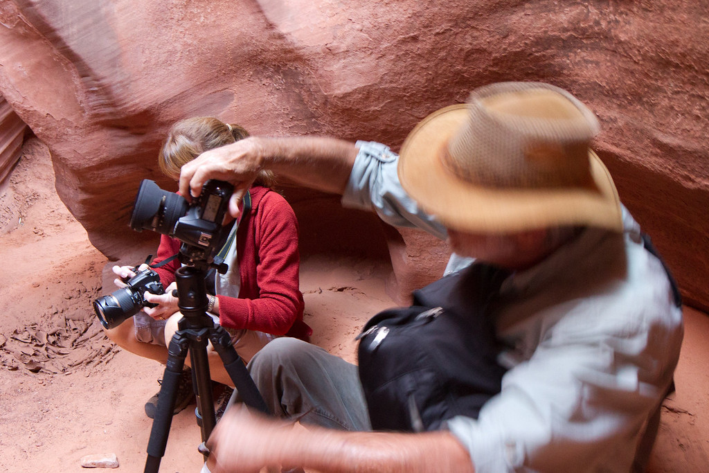We needed out tripods, as some of the exposures (especially in narrow and dark Antelope Canyon) led to exposures of 20 or more seconds.