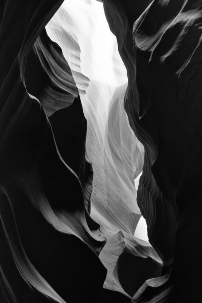 Not chronologically at the beginning of the trip, but makes a nice opening...Scenes from Antelope Canyon and other slot canyons near Page, Arizona. <br /> The colored sandstone looks pretty good in black and white also.