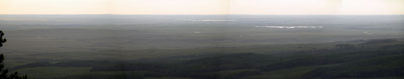 A panoramic view of the lookoff in Cypress Hills. The centre is roughly north, and the two sides are almost west and east.