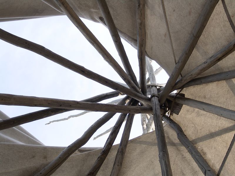 Looking up inside the teepee.