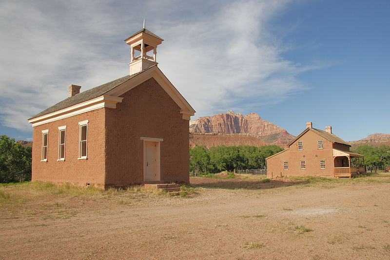 "Restoration of meeting house and house seen in ""Butch Cassidy & the Sundance Kid"" in Grafton, UT ghost town near Zion NP."