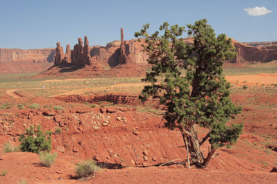 """Totem Pole"" and ""Yei- Bi-Chei"" pinnacles in Monument Valley."