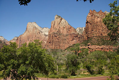 "The ""Three Patriarchs"" formation in Zion NP."