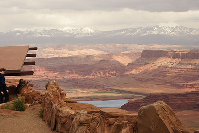 View of potash evaporation pond from Dead Horse Point SP, UT.